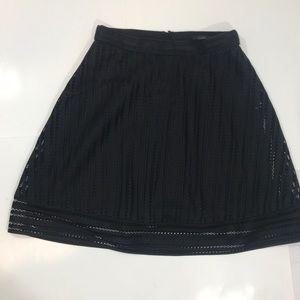 J Crew Eyelet Lace A line Skirt Black 6 NWT
